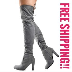 NWOB Gray Suedette Over-the-Knee Boots Sz 36